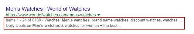 Piece of a Google search page result with the description of the highlighted example with red borders